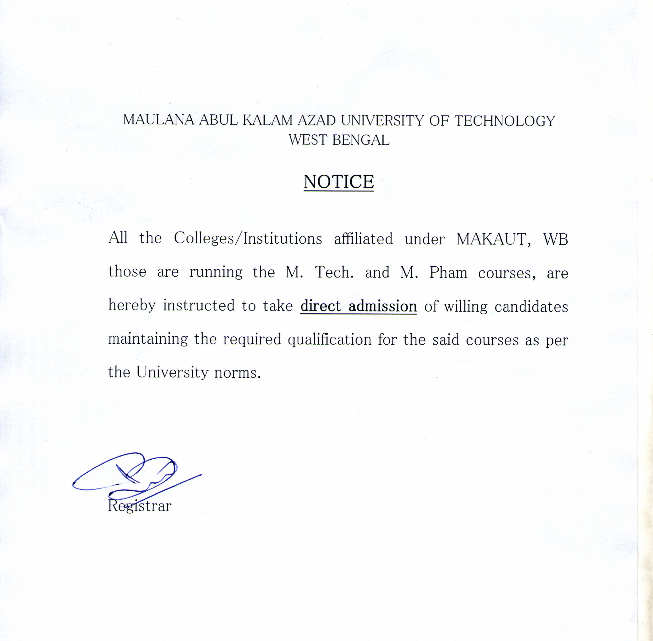 Maulana abul kalam azad university of technology west bengal notice to principaldirector of affiliated colleges offering mtechmpharm regarding direct admissionfor the year 2016 17 spiritdancerdesigns Choice Image